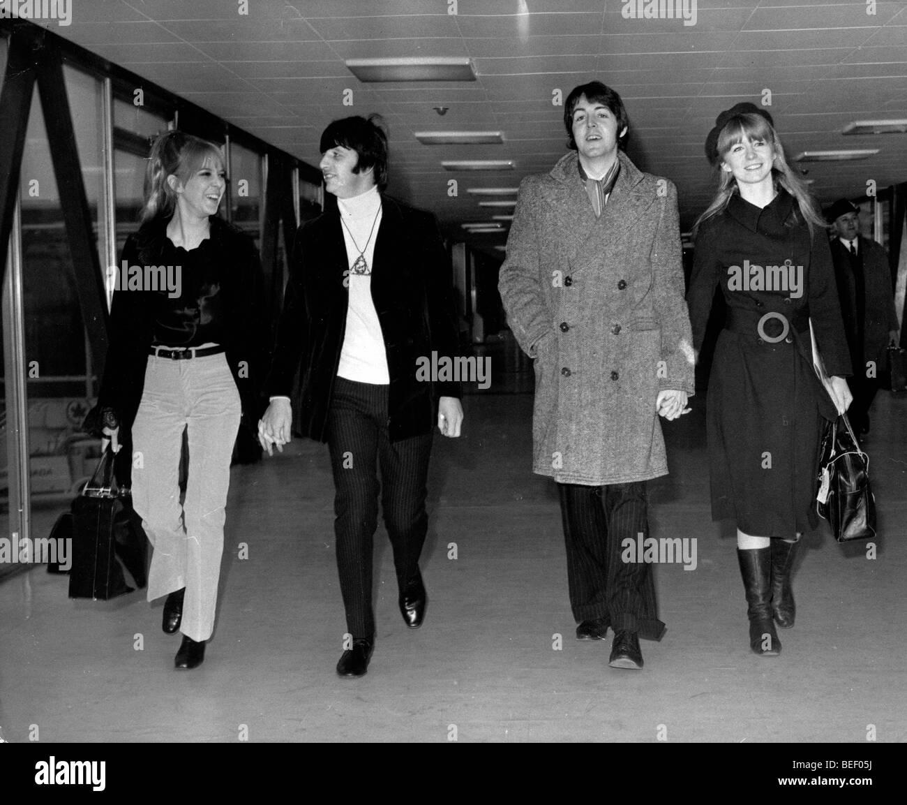 The Beatles Ringo Starr and Paul McCartney travel - Stock Image