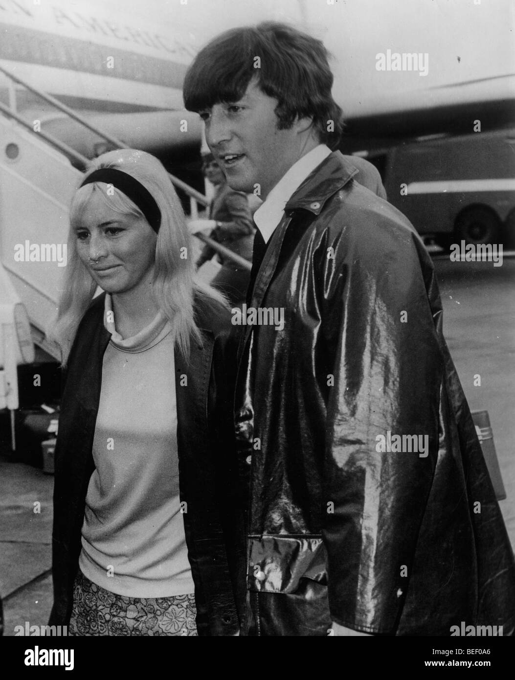 Beatle John Lennon with his first wife Cynthia Powell in 1967. Stock Photo