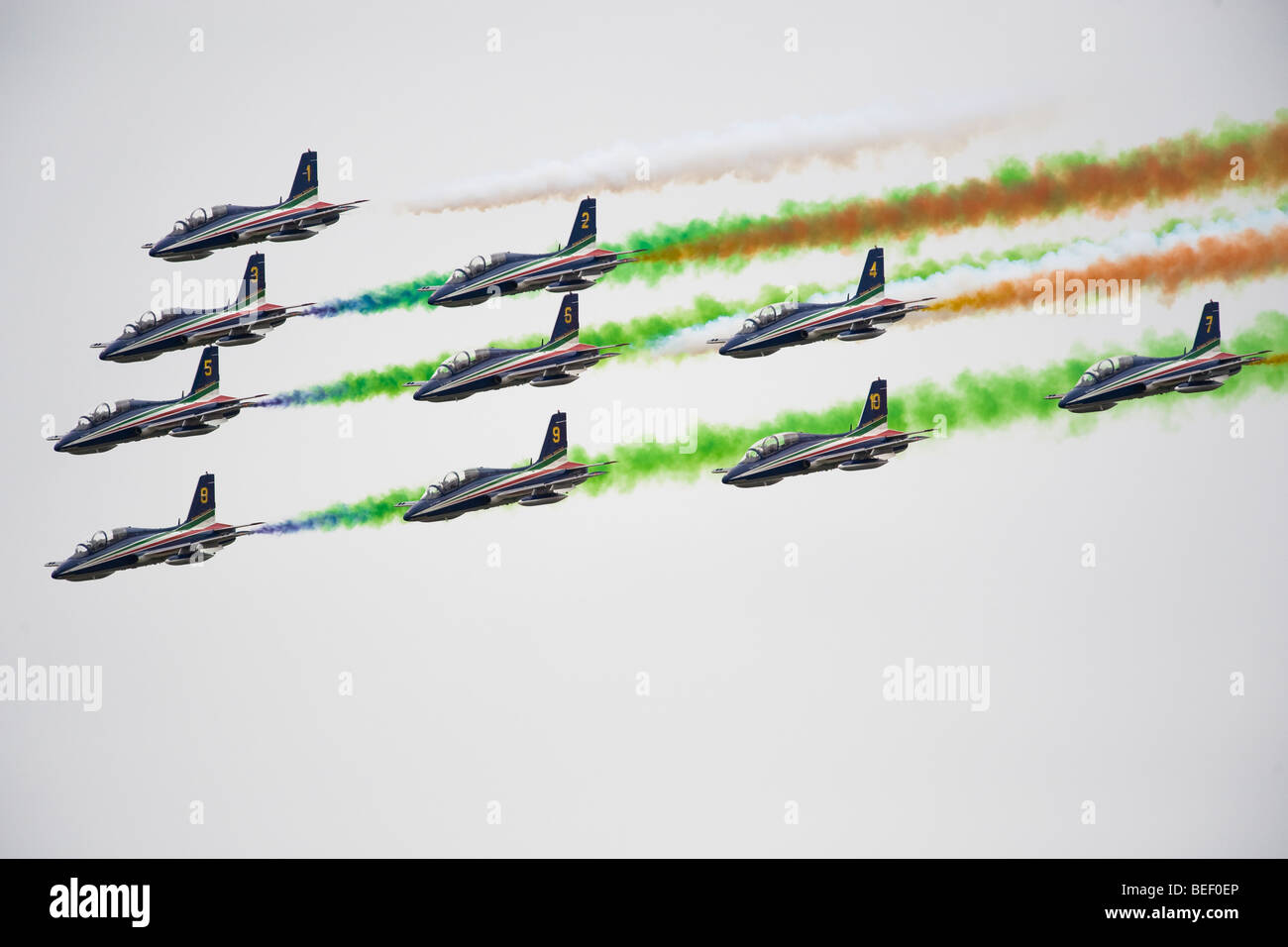 The Italian Aerobatic Display Team the Frecce Tricolori formation flying at RIAT 2009 - Stock Image