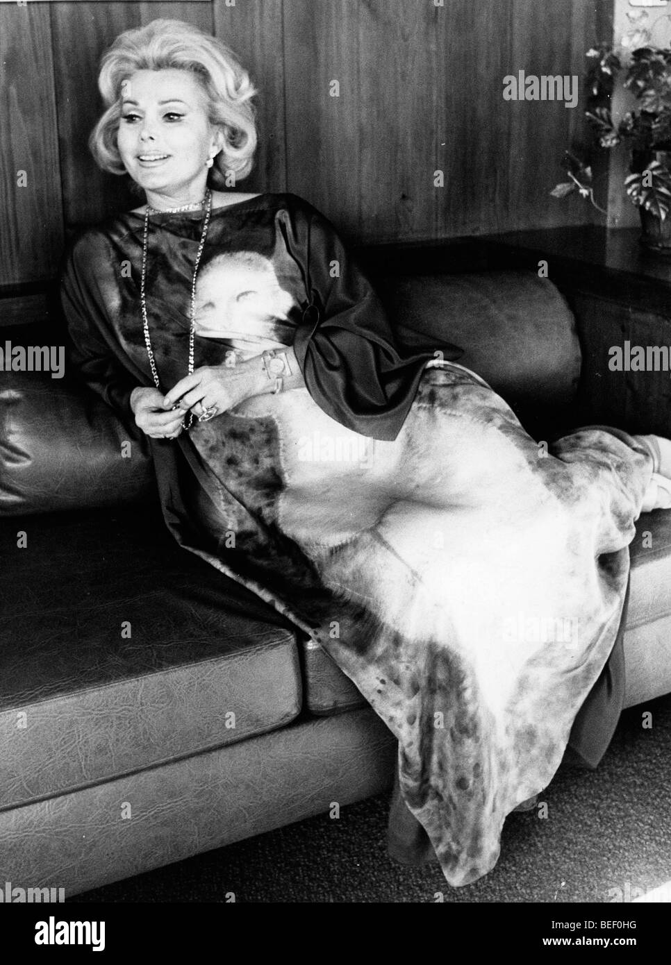 Actress and socialite Zsa Zsa Gabor with her dog in the 1970's. Stock Photo