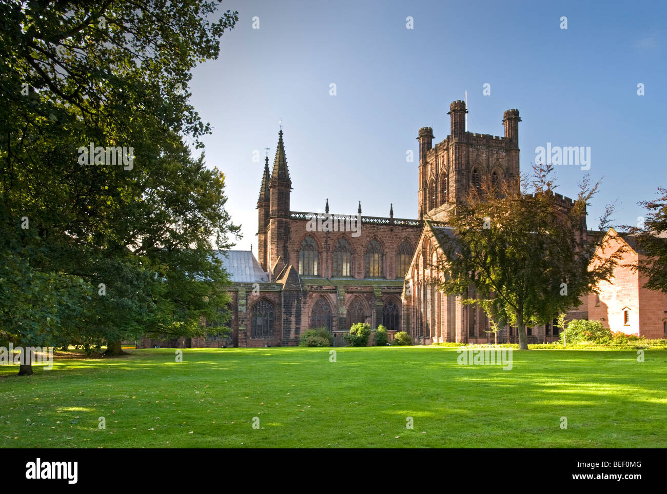 Chester Cathedral in Late Summer, Chester, Cheshire, England, UK - Stock Image