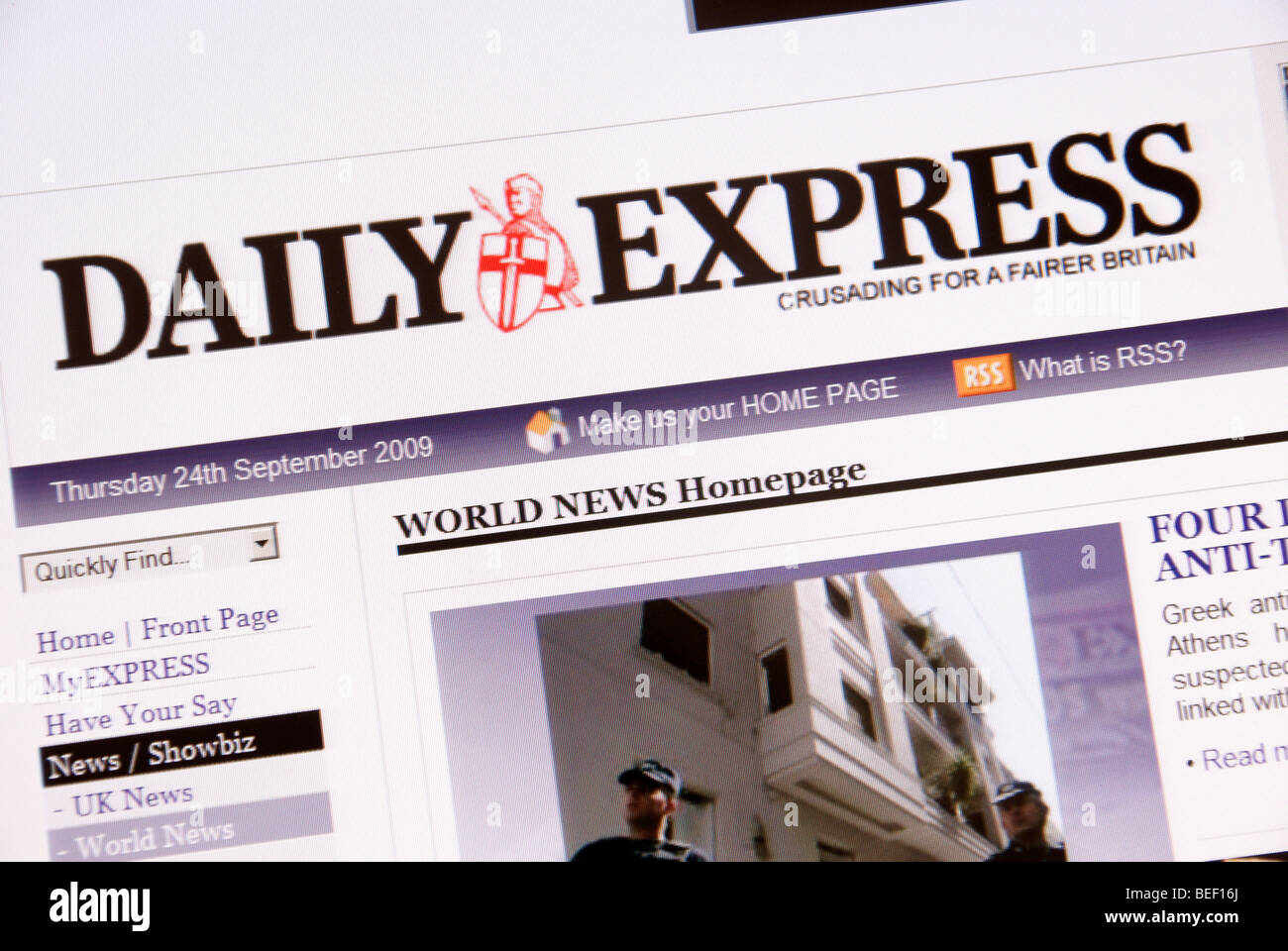 Screen shot of Daily Express online web page - Stock Image