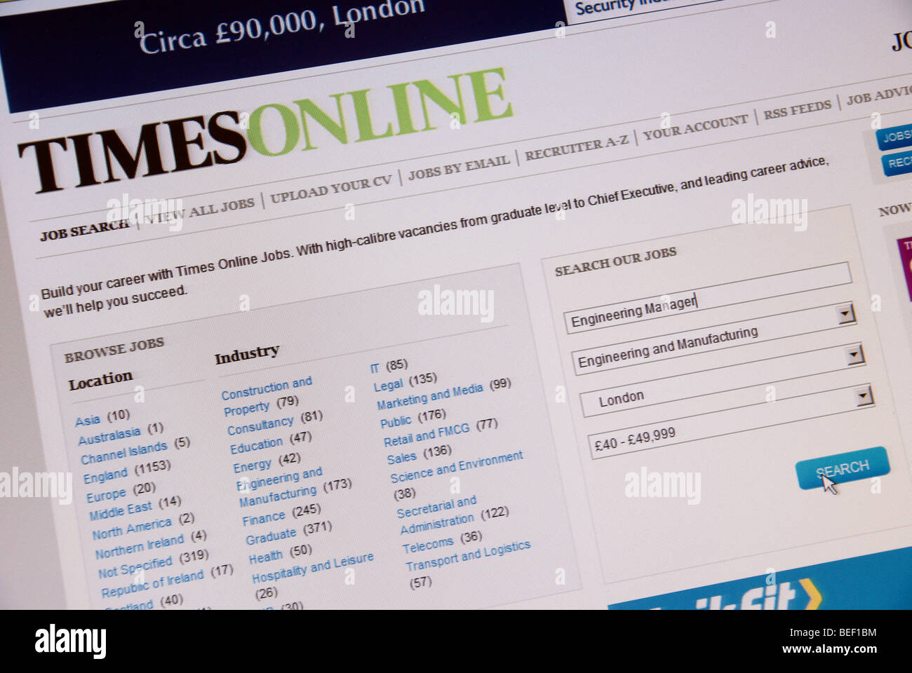 Screen shot of Times online Job Search web page - Stock Image