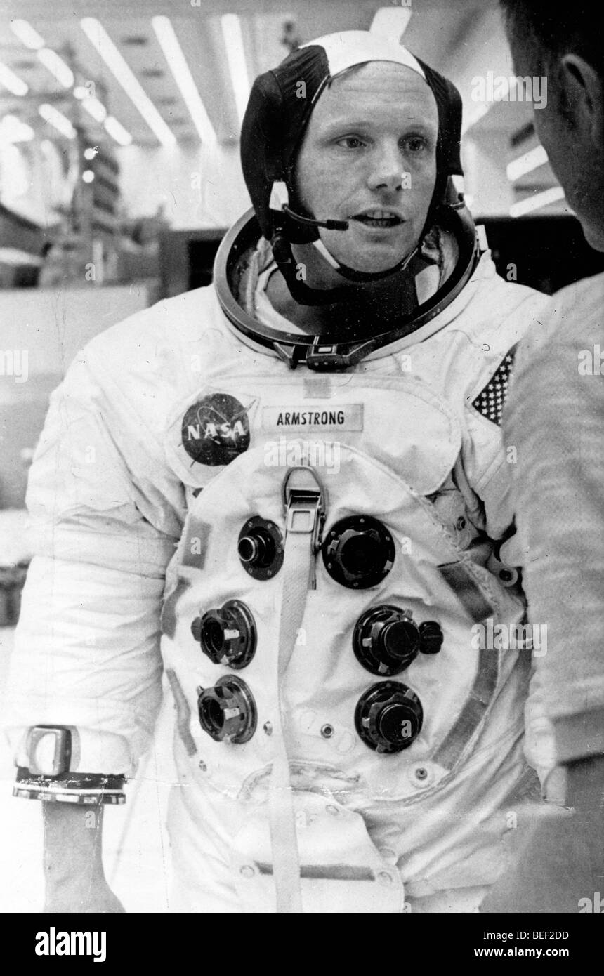 Astronaut NEAL ARMSTRONG in a space suit during training for the NASA Apollo 11 mission. Stock Photo