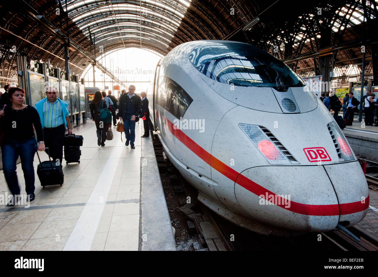 Inter city ICE train at platform at Frankfurt railway station - Stock Image
