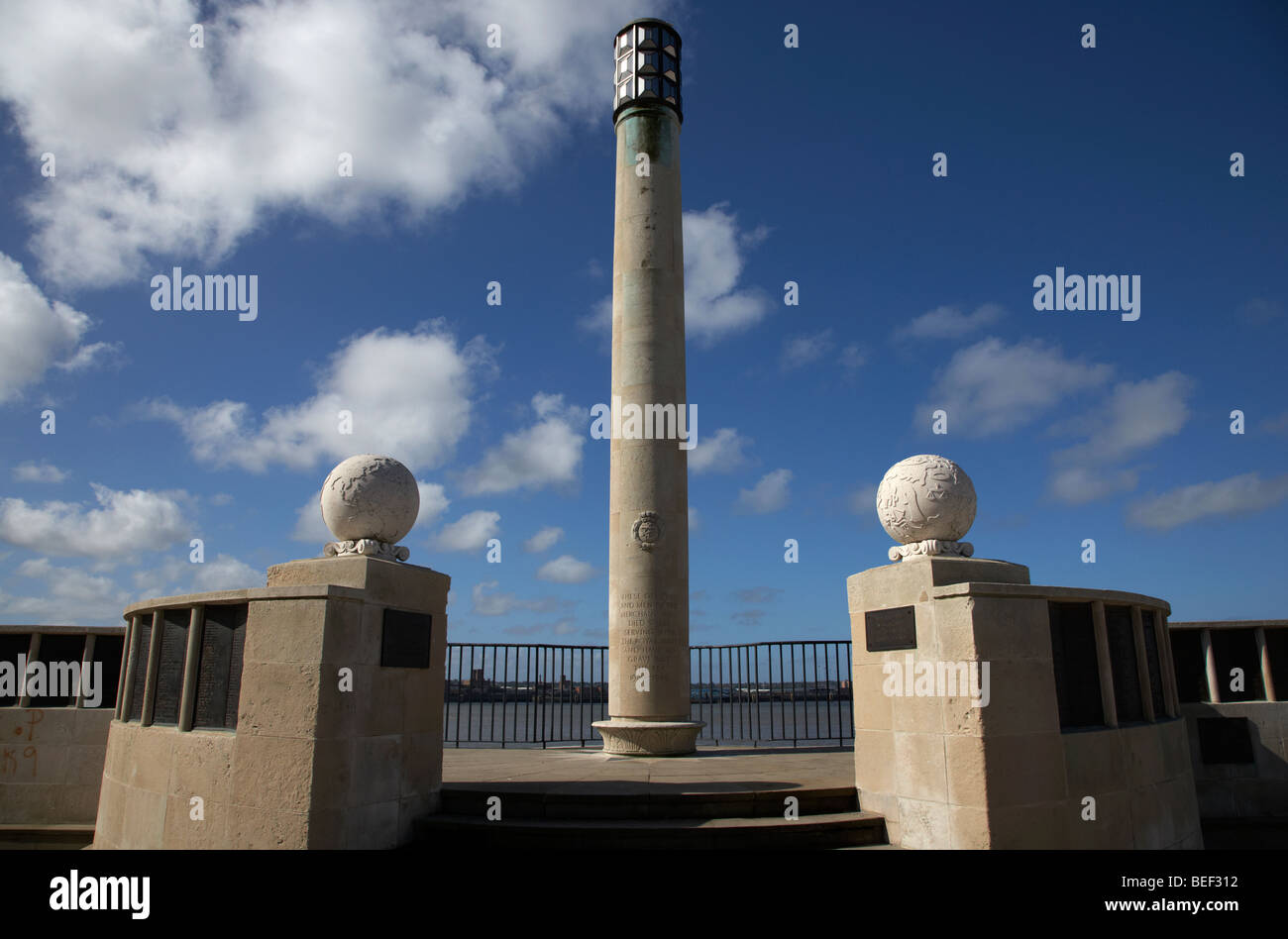 commonwealth war graves liverpool naval memorial on the pier head waterfront liverpool merseyside uk - Stock Image