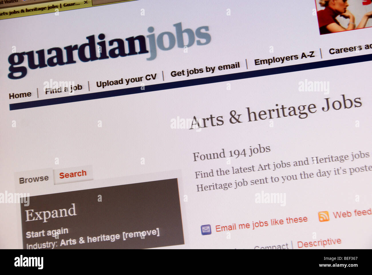 Screen shot of the the Guardian online Arts and Heritage Job Search web page - Stock Image