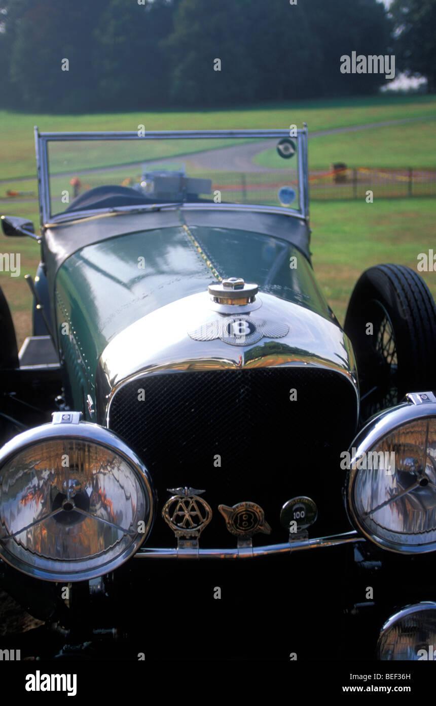 Antique Bentley at vintage car show; Leeds Castle; Kent; England - Stock Image
