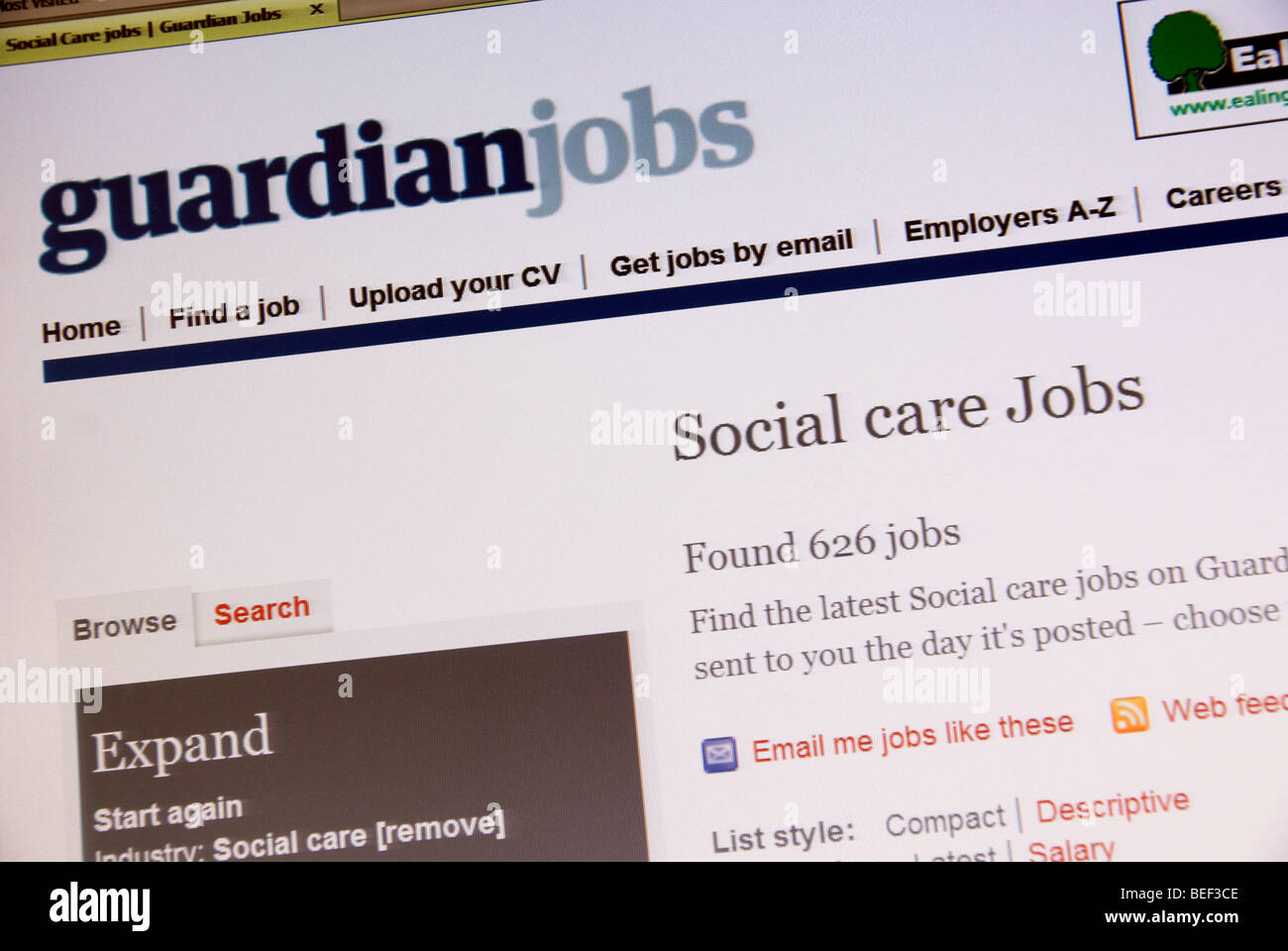Screen shot of the the Guardian online Social Care Job Search web page - Stock Image