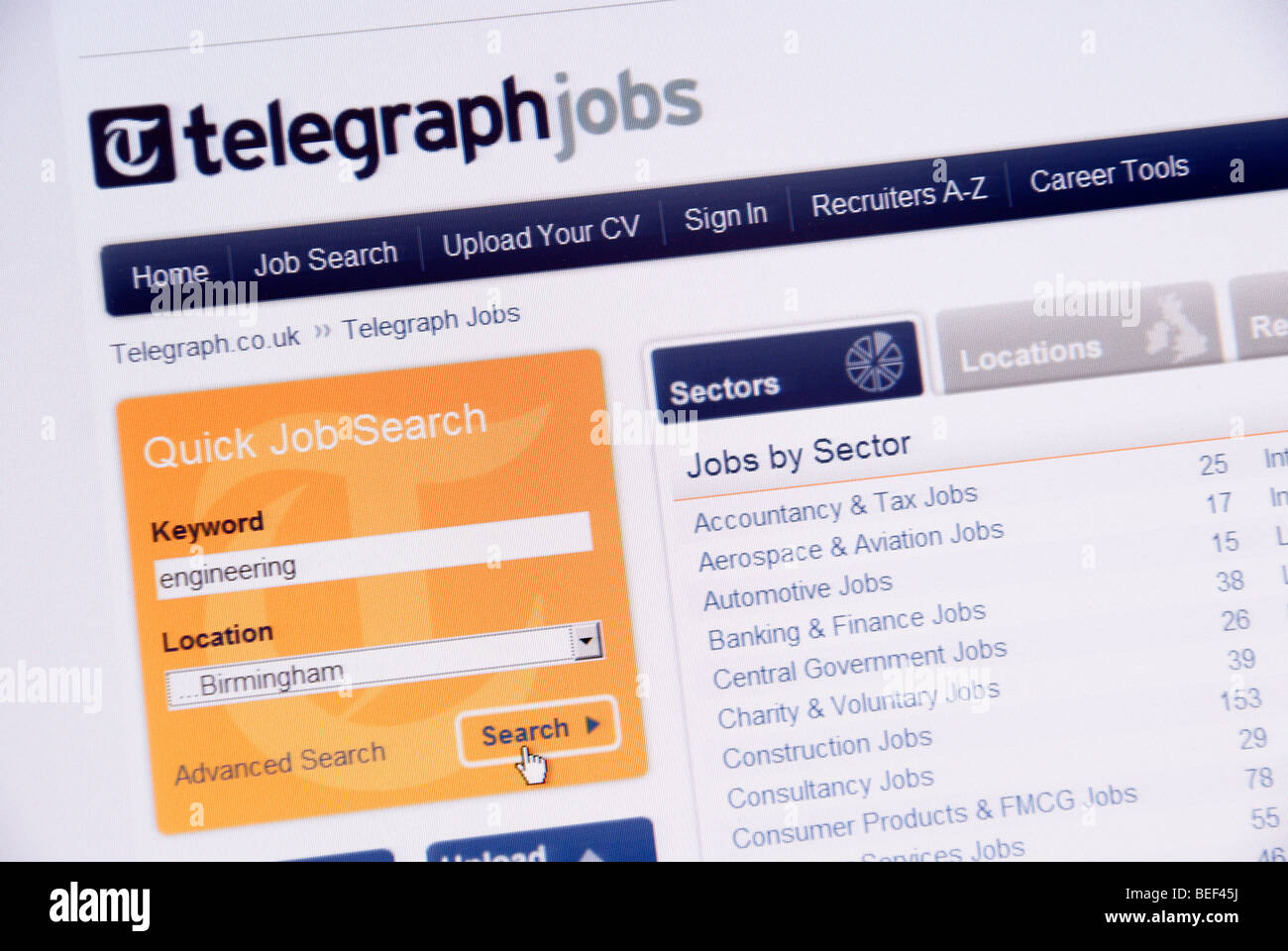 Screen shot of the Telegraph online Job Search web page - Stock Image
