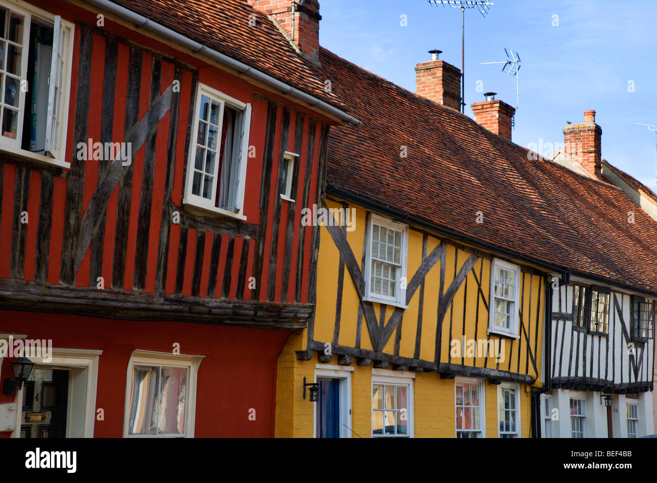 Colourful Half Timbered Buildings Nayland Suffolk England - Stock Image