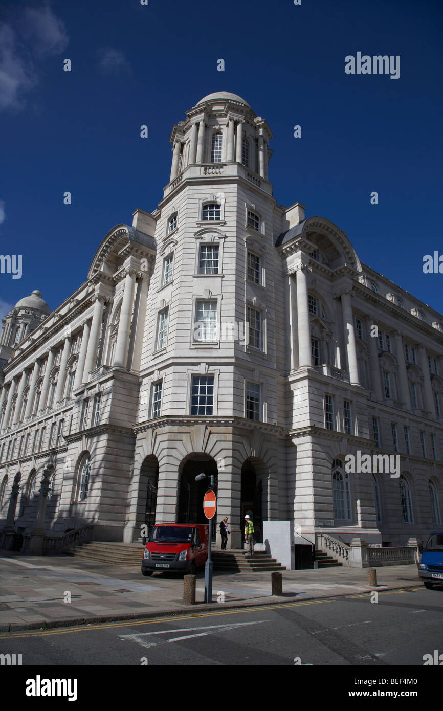 rear entrance to the the port of liverpool building one of liverpools three graces listed buildings on the liverpool - Stock Image