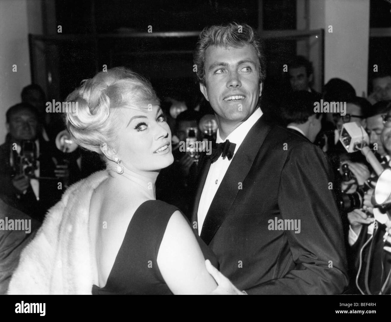 Swedish actress Anita Ekberg and her husband, American actor Rik Van Nutter in 1963. Stock Photo