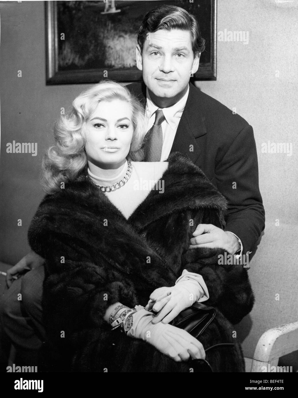 Swedish actress Anita Ekberg with her fist husband, British actor Anthony Steel. Stock Photo