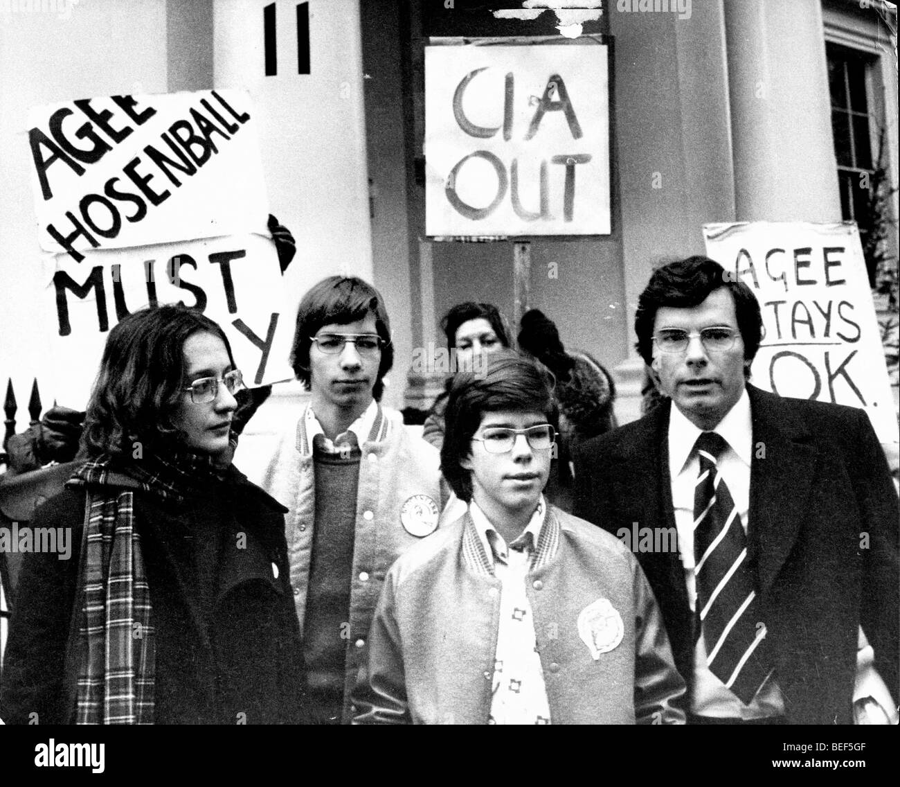 CIA whistleblower PHILIP AGEE, right, during a 1977 London protest against his deportment. Stock Photo