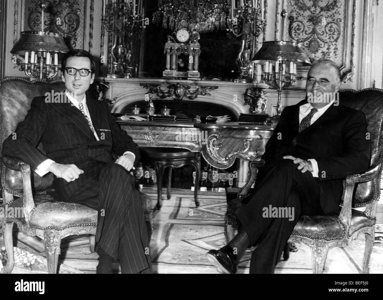 1006493 (900326) Robert BOURASSA (links), Premierminister von Quebec, bei einem Staatsbesuch in Paris (Frankreich) - Stock Image