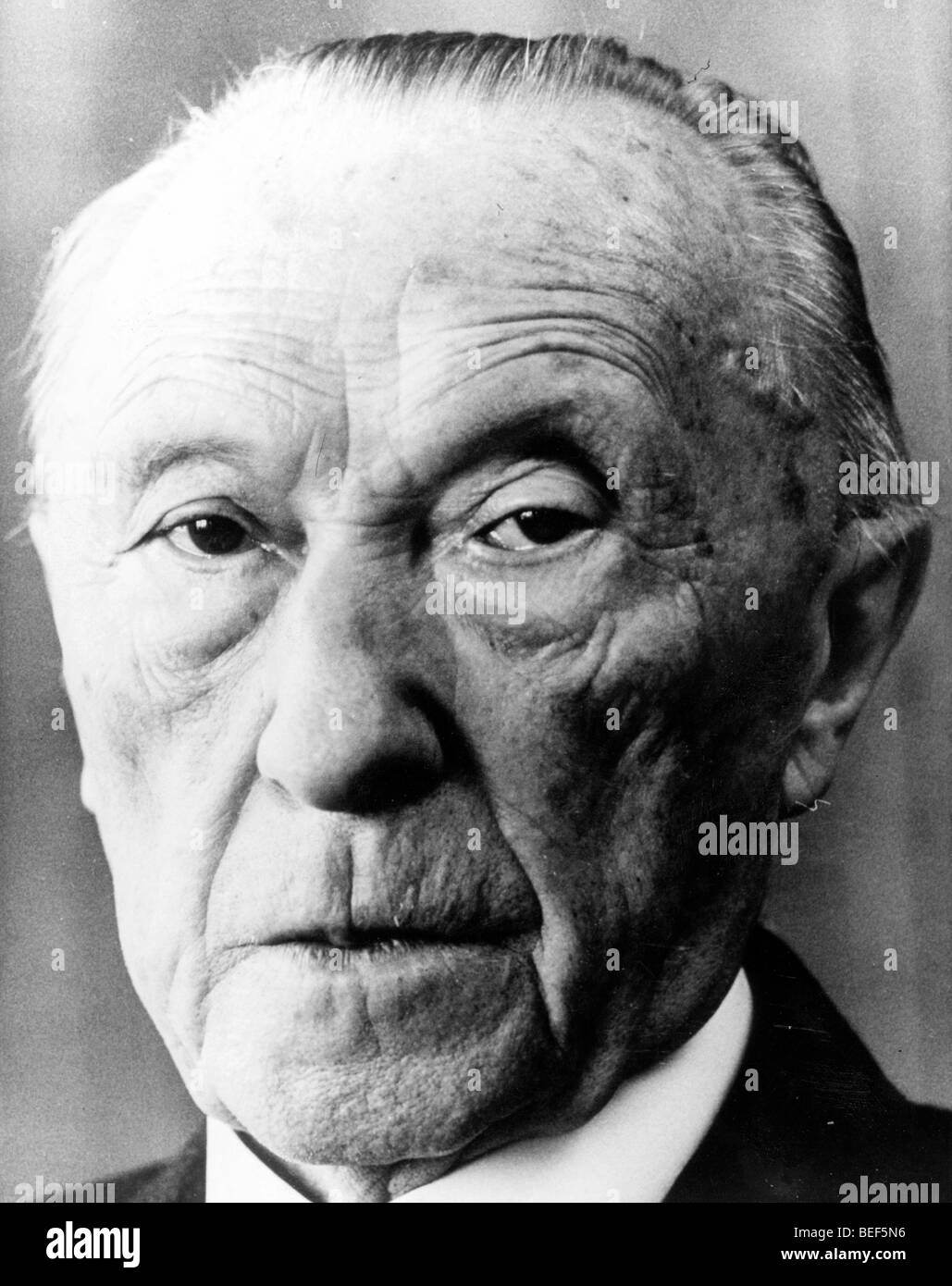 German Chancellor Konrad Adenauer in the early 1950's Stock Photo