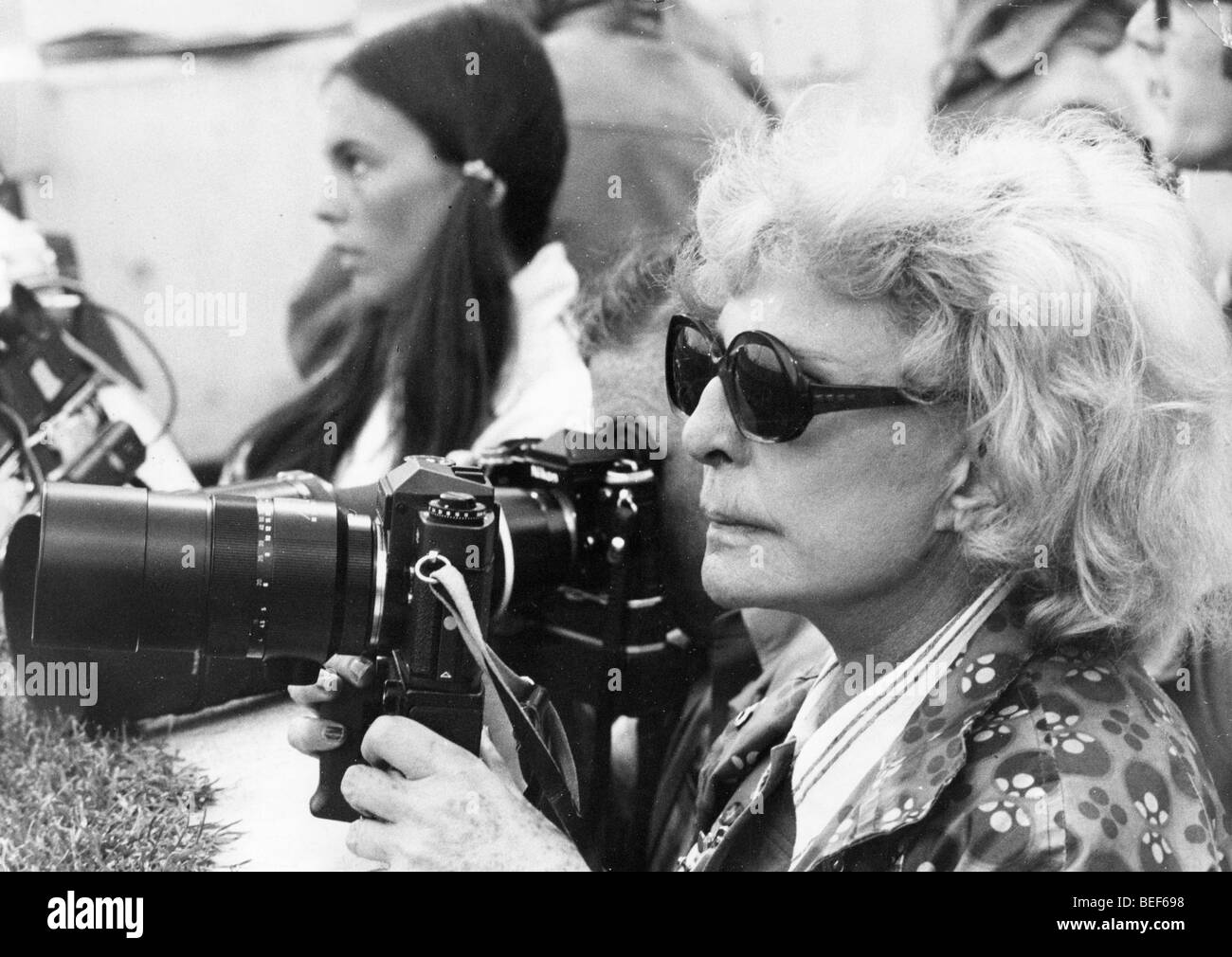 Film maker Leni Riefenstahl films Olympic Games - Stock Image