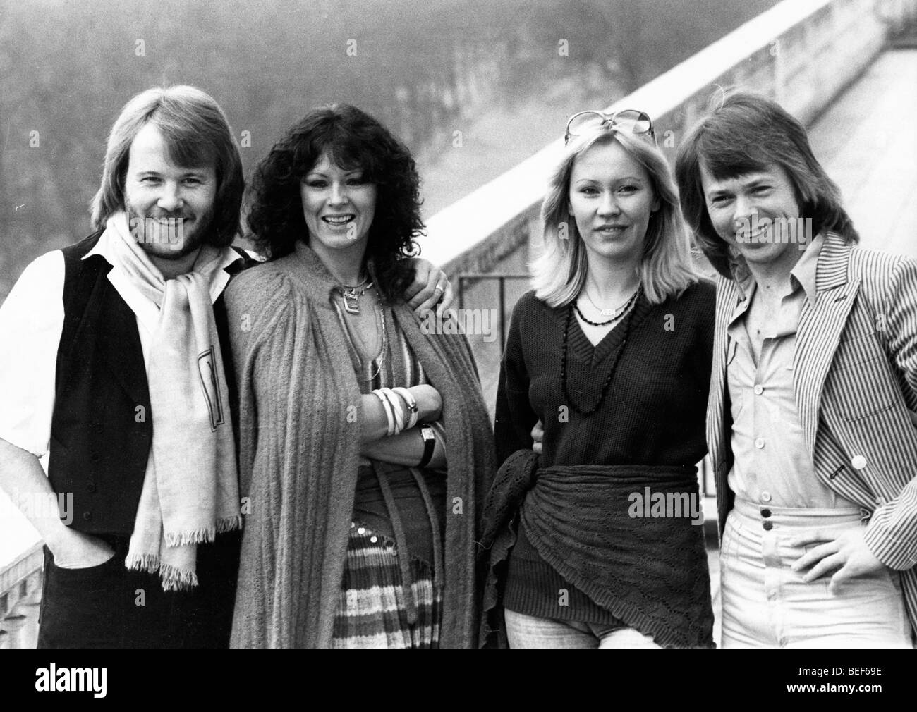 ABBA in the late-1970's (L-R) Benny Andersson, Anni-Frid Lyngstad (Frida), Agnetha Fältskog, and Björn Ulvaeus Stock Photo