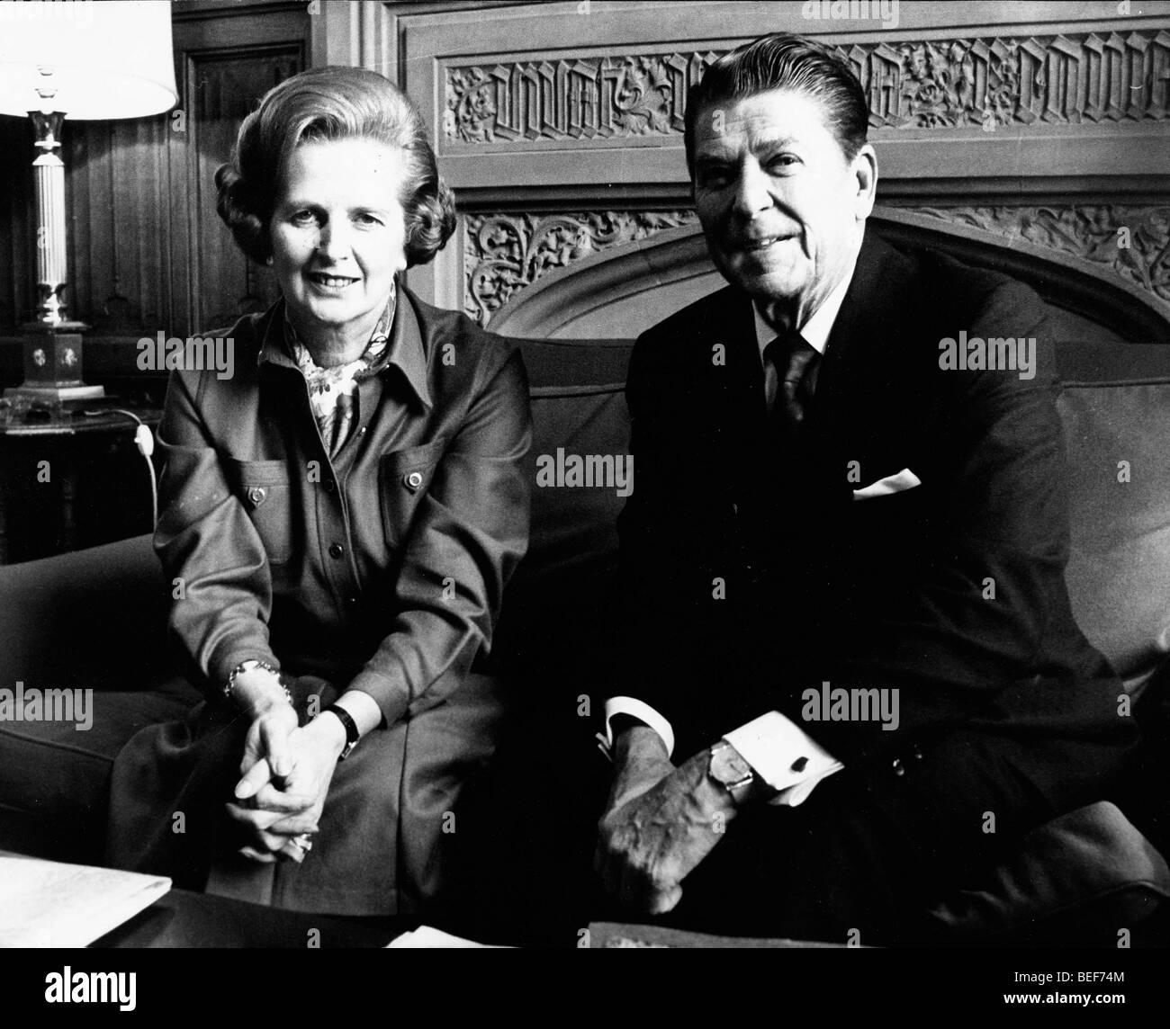 President Ronald Reagan visits Margaret Thatcher - Stock Image