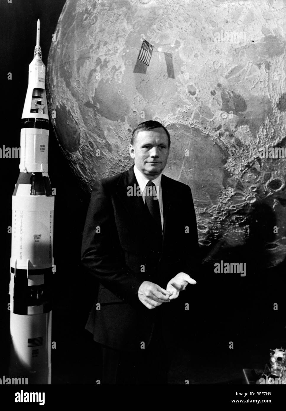 Astronaut Neil Armstrong films French TV show Stock Photo