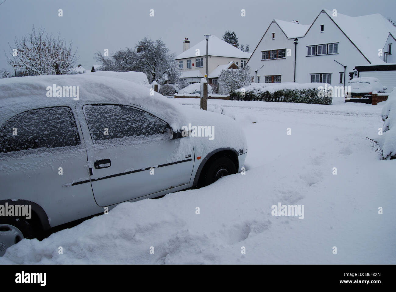 Snow in the United Kingdom 10 inches high - Stock Image
