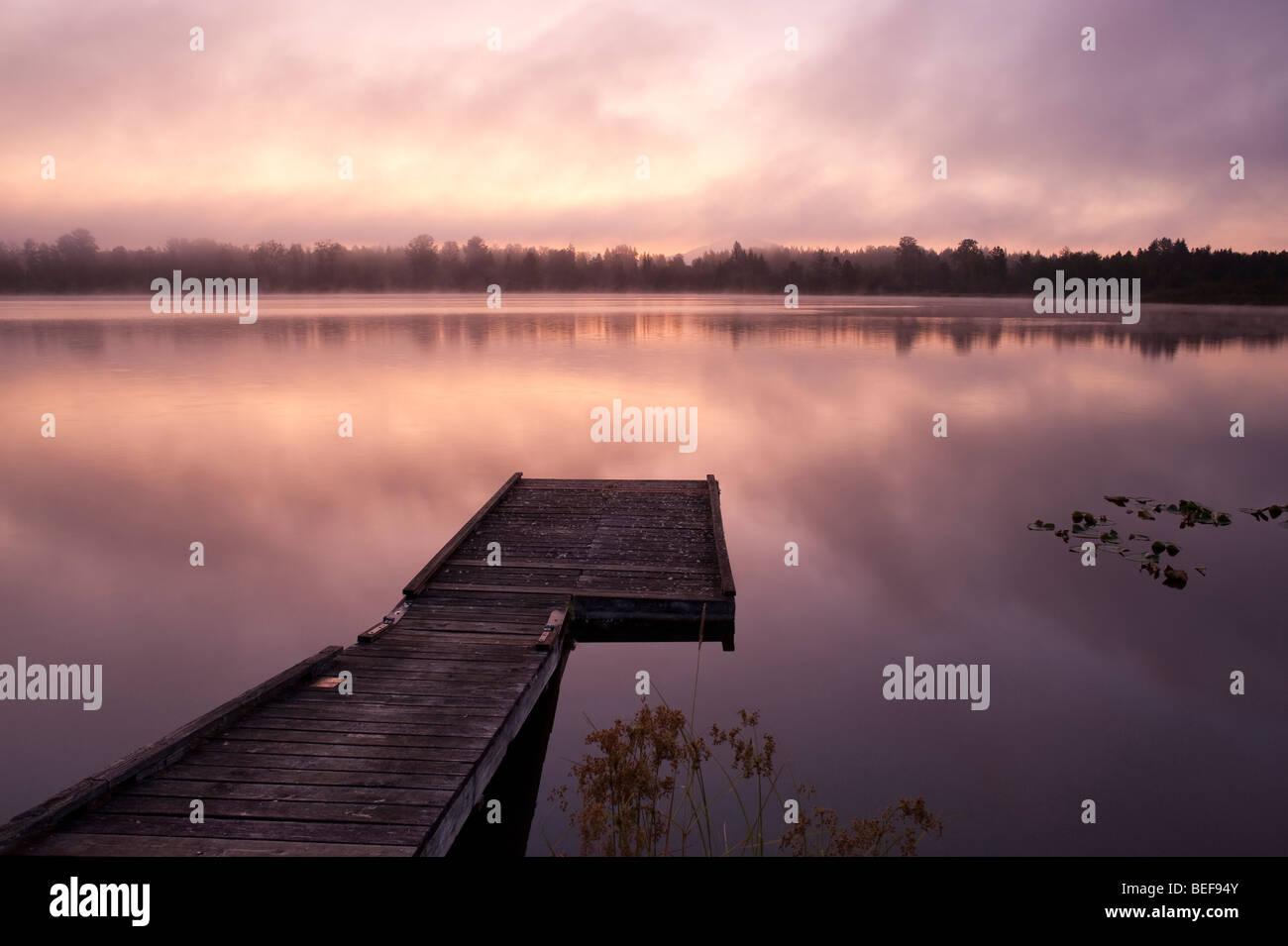 Lake Cassidy sunrise in fog with dock - Stock Image