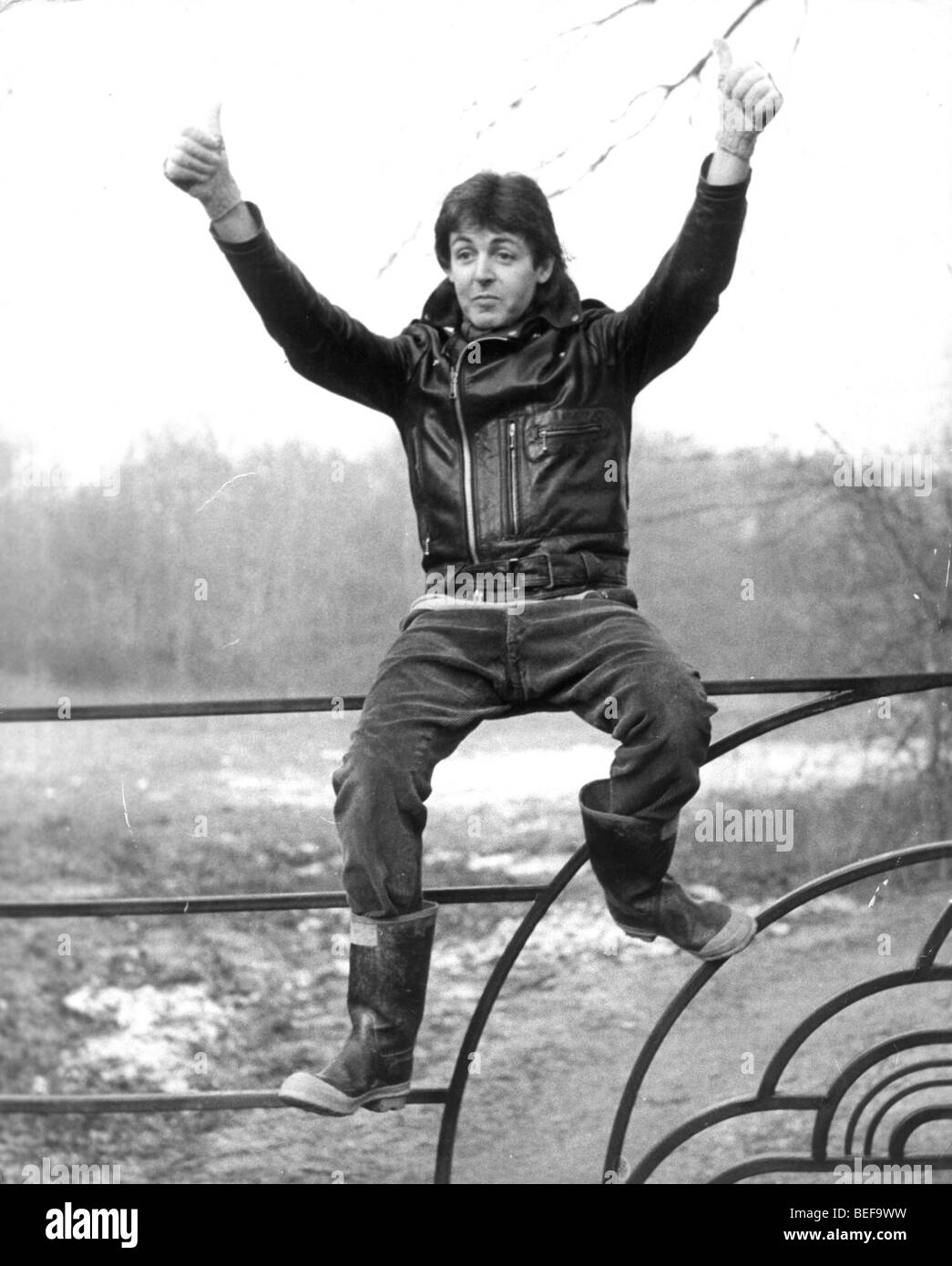 Beatles guitarist PAUL MCCARTNEY, on his farm in Rye, UK. - Stock Image