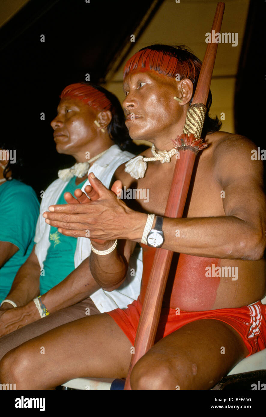 Kaiapo Indigenous People, Tent 9 meeting of indigenous peoples, At Earth Summit 1992, Rio, Brazil, South America. - Stock Image