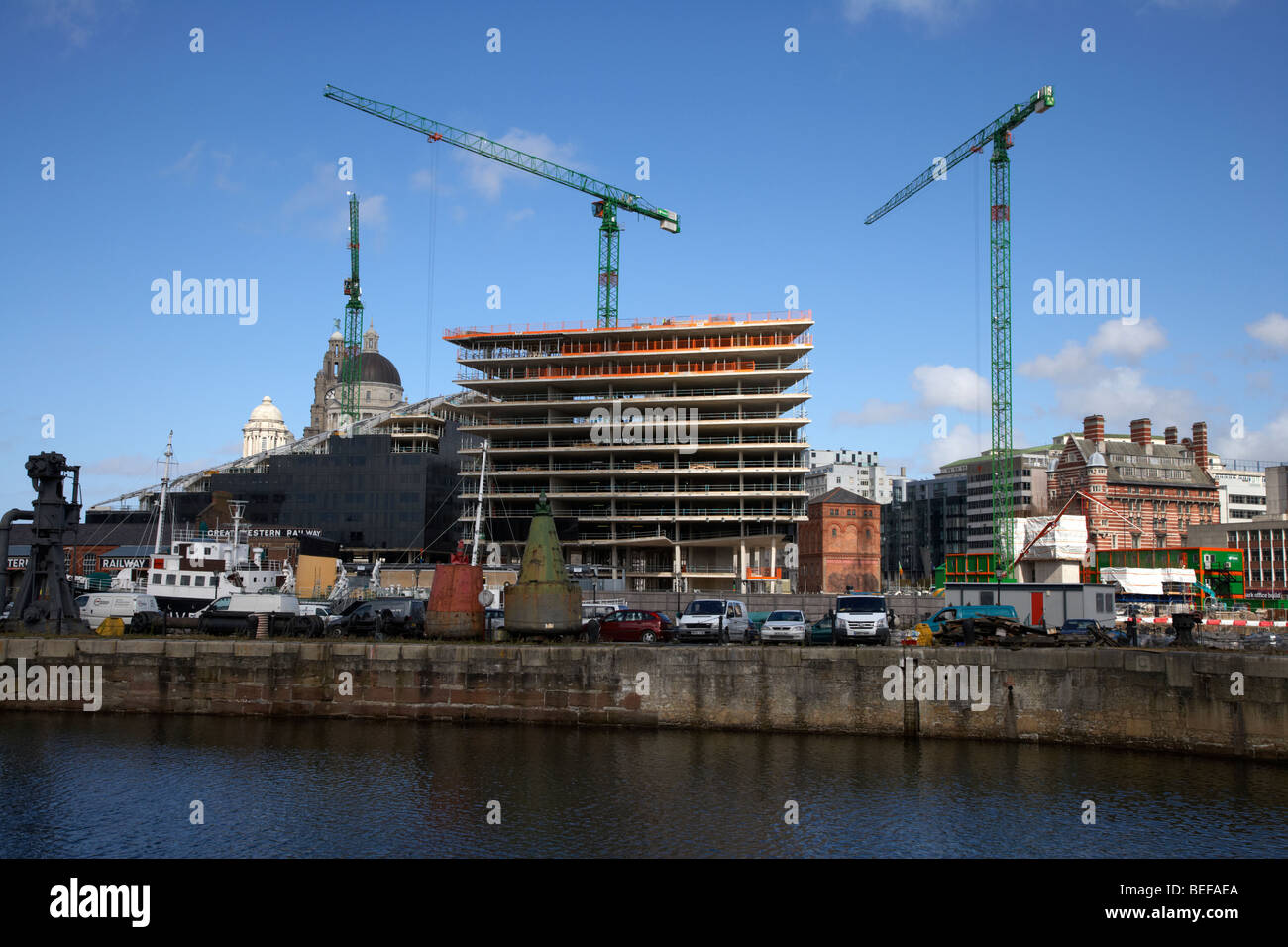 building of the new museum of liverpool life urban waterfront regeneration at the albert dock liverpool merseyside - Stock Image