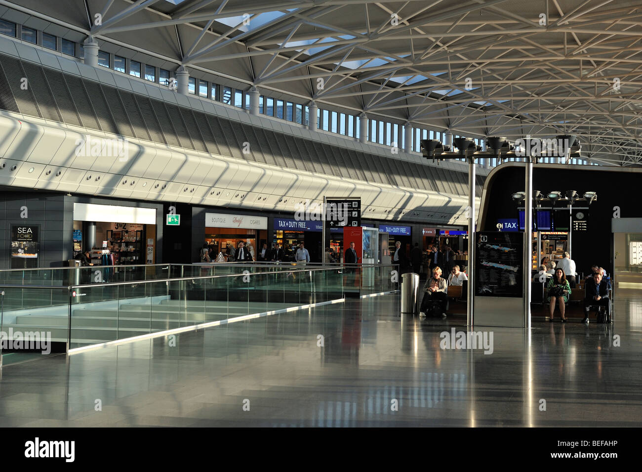 A walkway in Zurich Airport - Stock Image