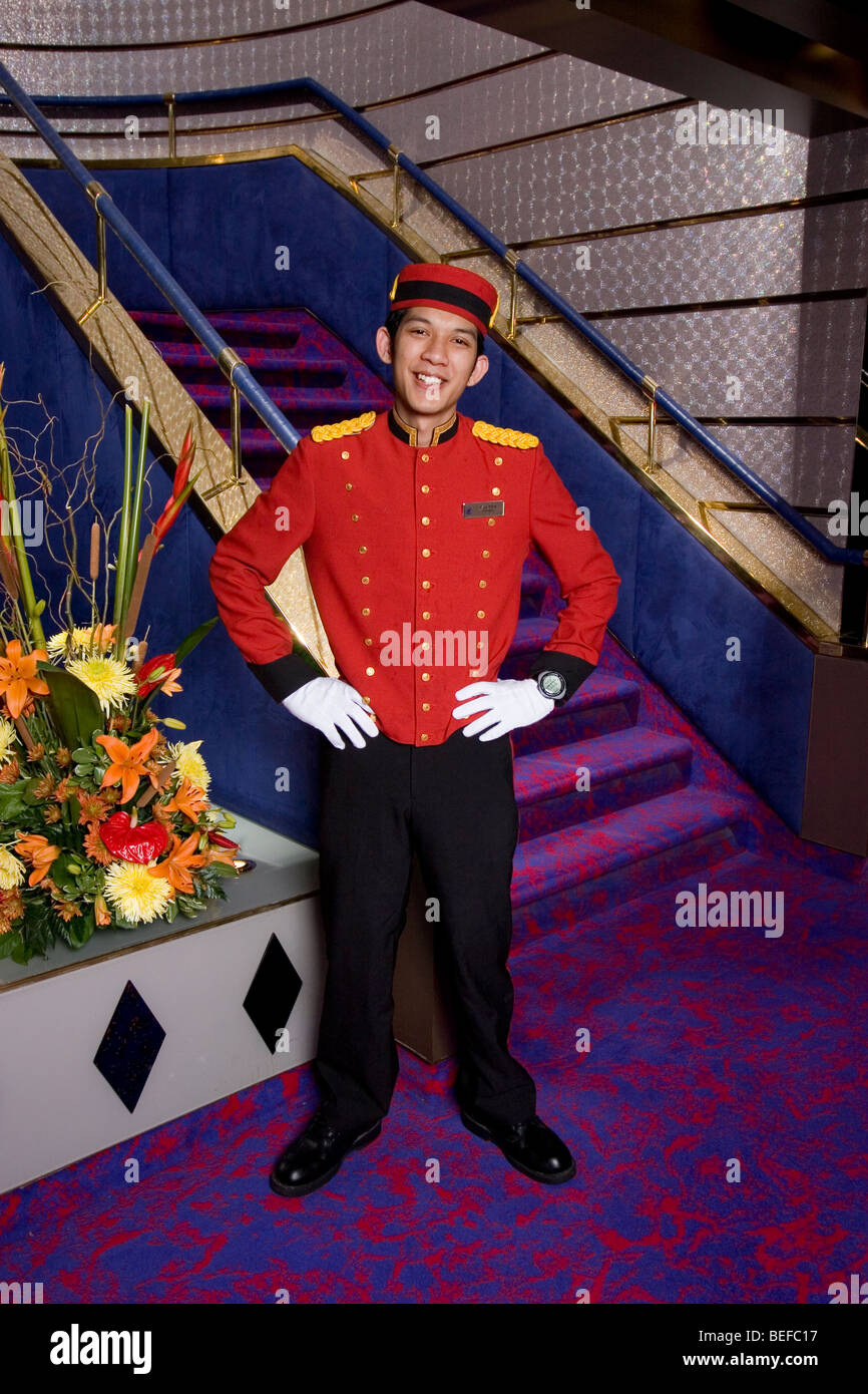 Bellboy, Zandaam cruise ship - Stock Image