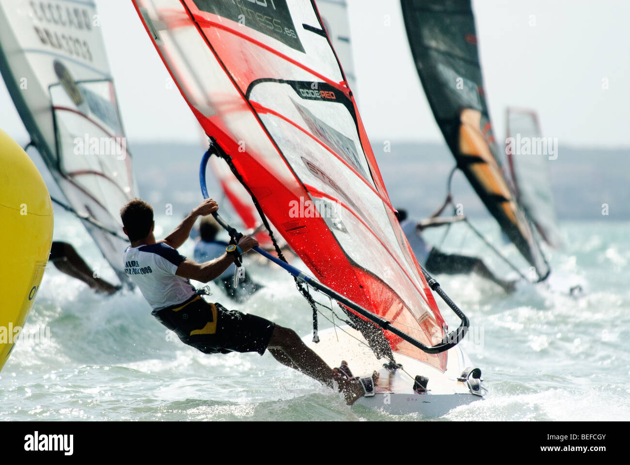Group Of Windsurfer In Backlight At The Formula Windsurfing World Stock Photo Alamy