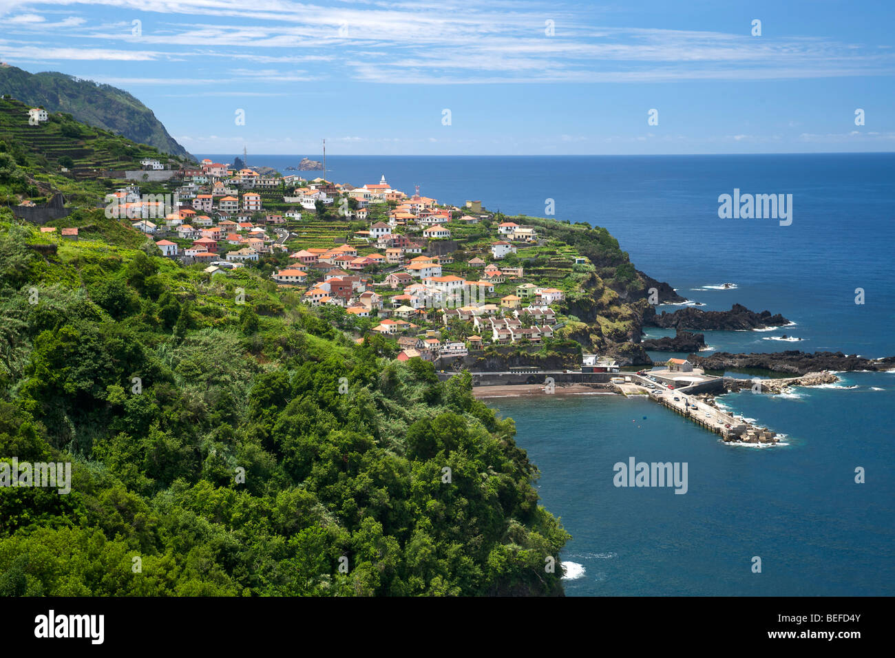 The village of Seixal on the coast of Madeira. - Stock Image