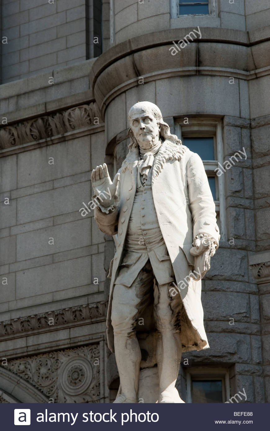 Benjamin Franklin Statue In Front Of The Old Post Office In Washington DC    Stock Image