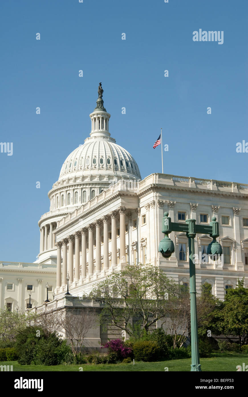 Surveillance cameras watching the U.S. Capitol grounds in Washington D.C. - Stock Image