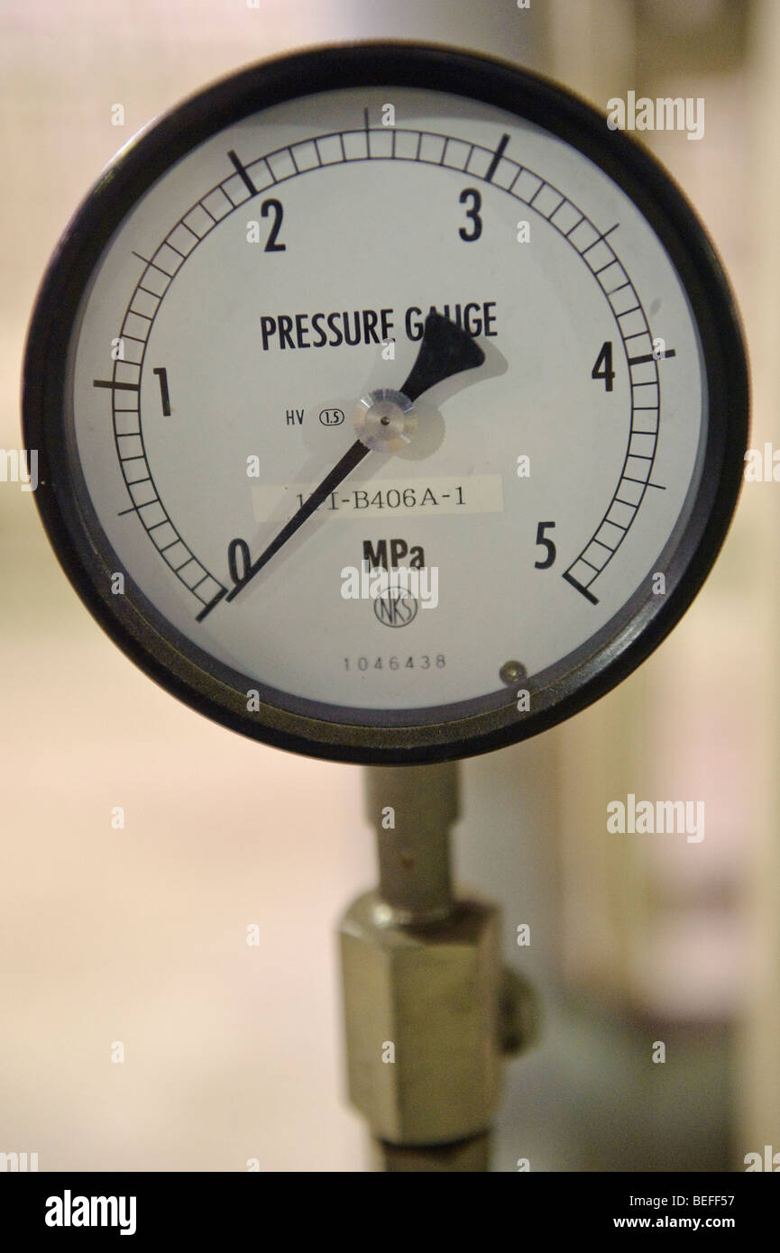 Pressure gauge, J-Power Isogo plant, Yokohama, Japan, September 29 2009. - Stock Image