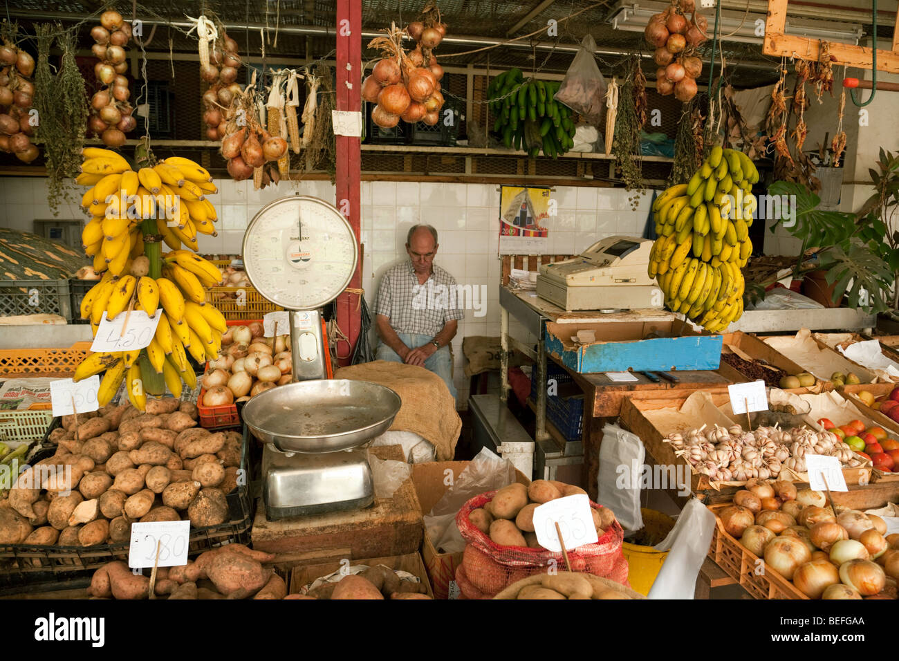 A market stall in the covered market, Funchal, Madeira - Stock Image
