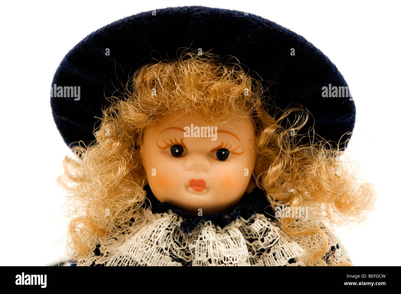 Portrait of an old porcelain doll - Stock Image
