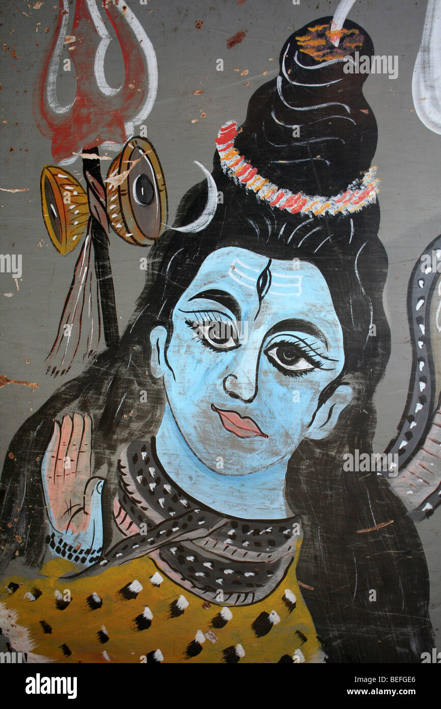 Colourful Hindu Painting Of Lord Shiva Taken In Diphu, Assam State, India - Stock Image