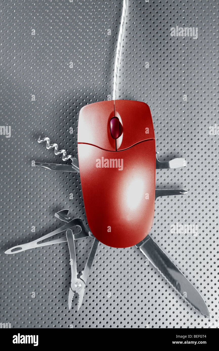 Red mouse metaphor pretending to be a swiss multifunction knife - Stock Image