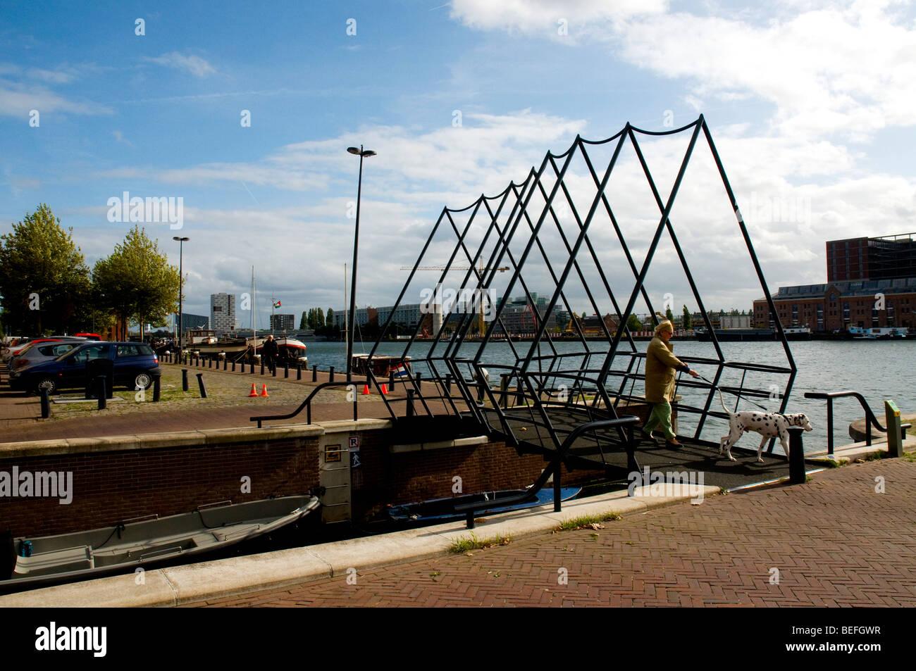 Bridge in Java Eiland, Amsterdam, Holland, Netherlands - Stock Image