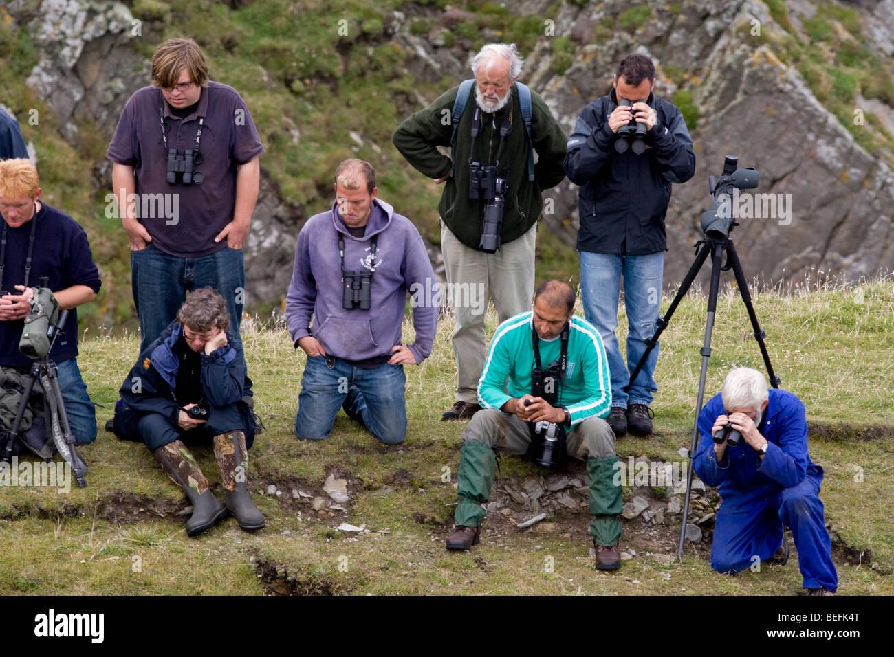 Twitchers on Fair Isle Shetland in autumn 2008 - Stock Image