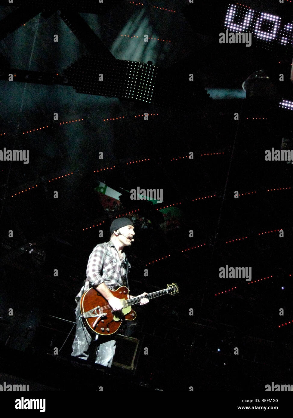 The Edge, guitarist of the Irish rock band U2, performs live at FedEx Field during U2's 360 Tour. - Stock Image