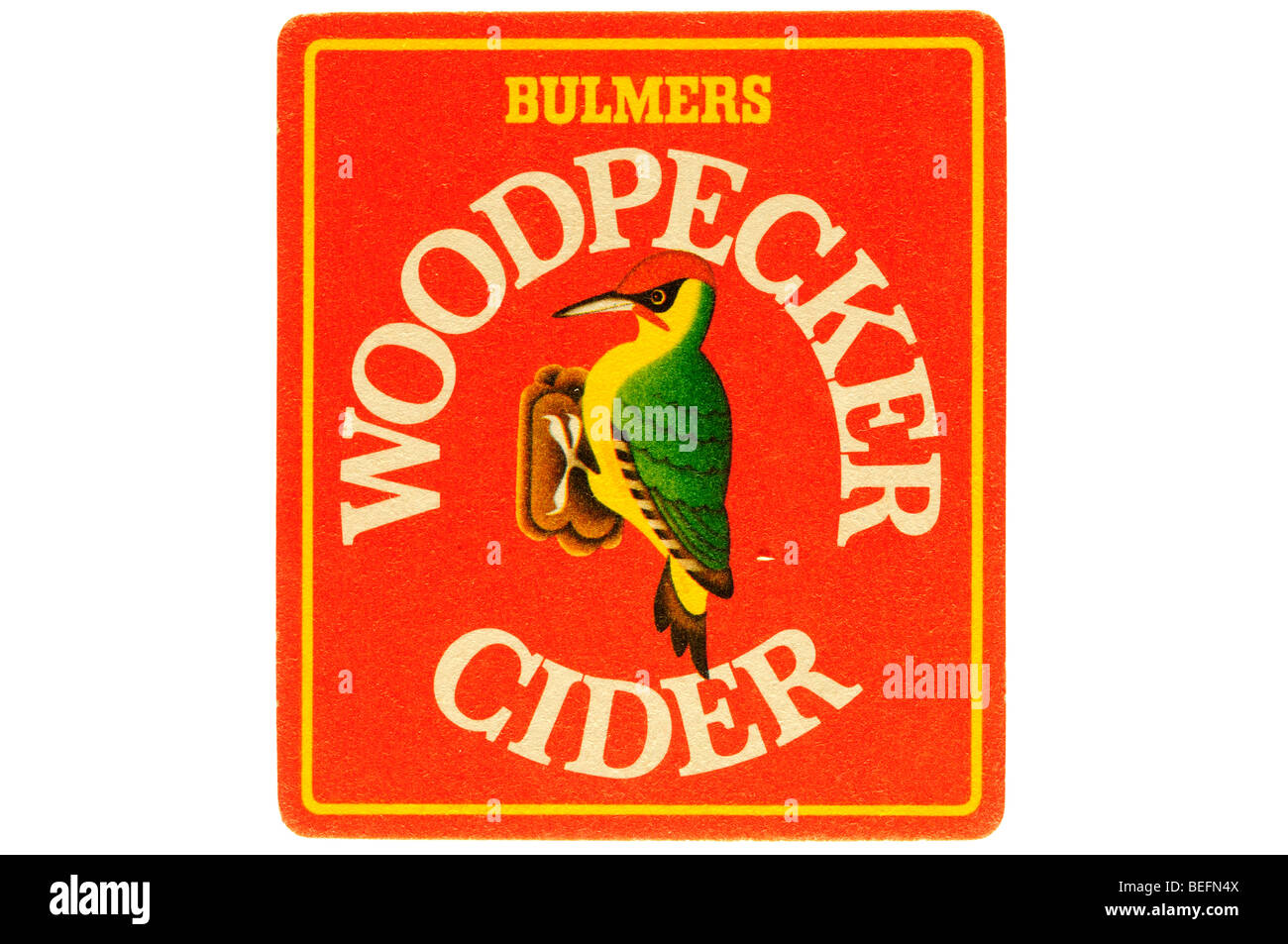 bulmers woodpecker cider beer mat Stock Photo