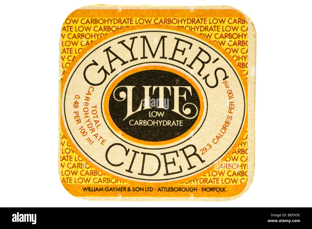 low carbohydrate beer mat gaymers cider lite - Stock Image