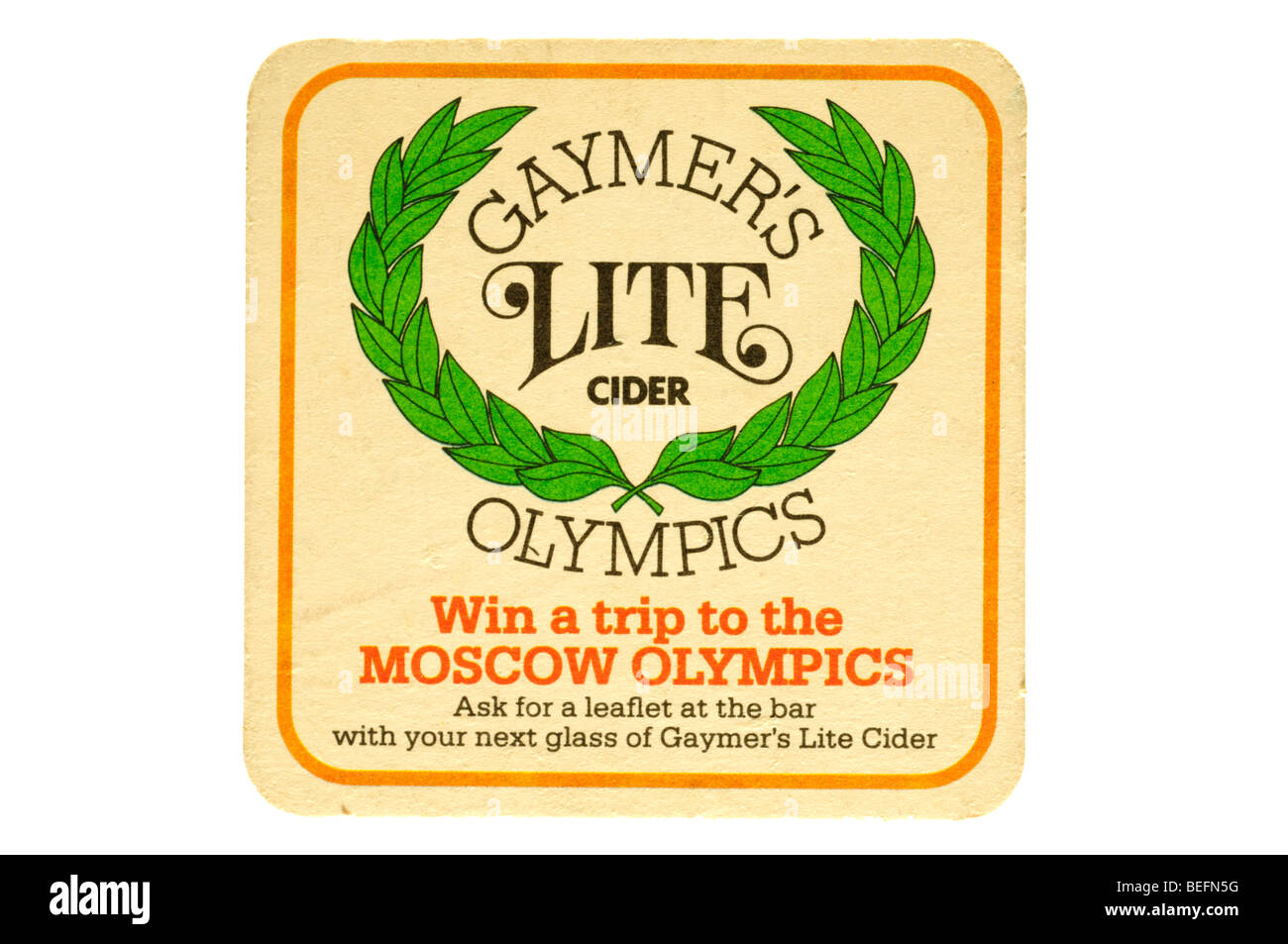 beer mat gaymers lite cider olympics win a trip to the moscow olympics - Stock Image