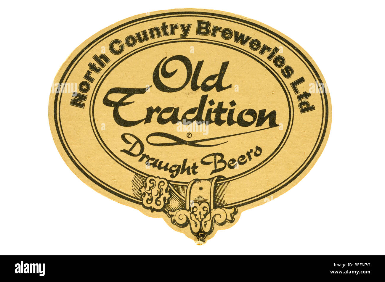north country breweries old tradition draught beers beer mat - Stock Image