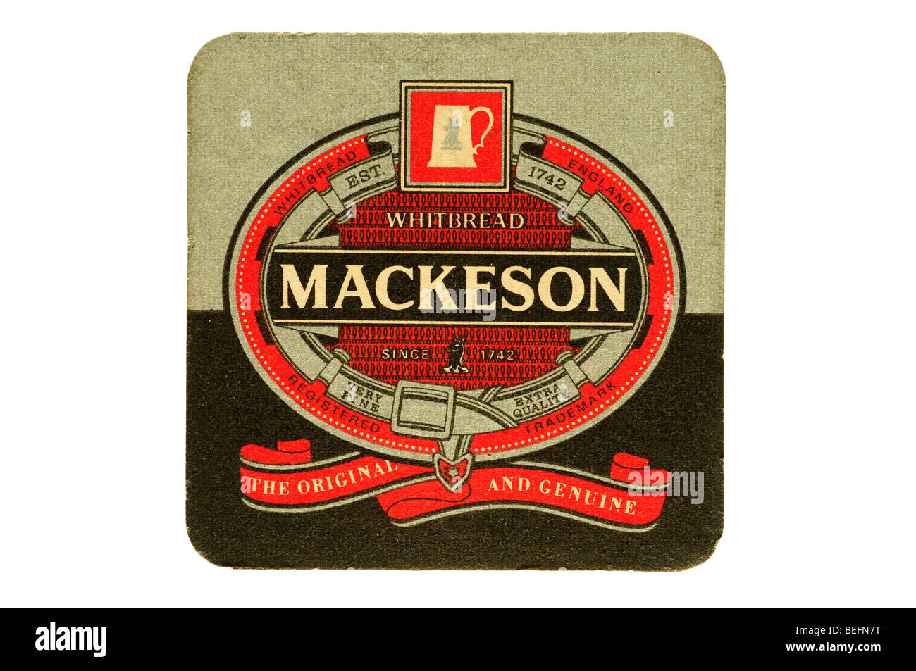 whitbread england est 1742 mackeson the original and genuine beer mat - Stock Image