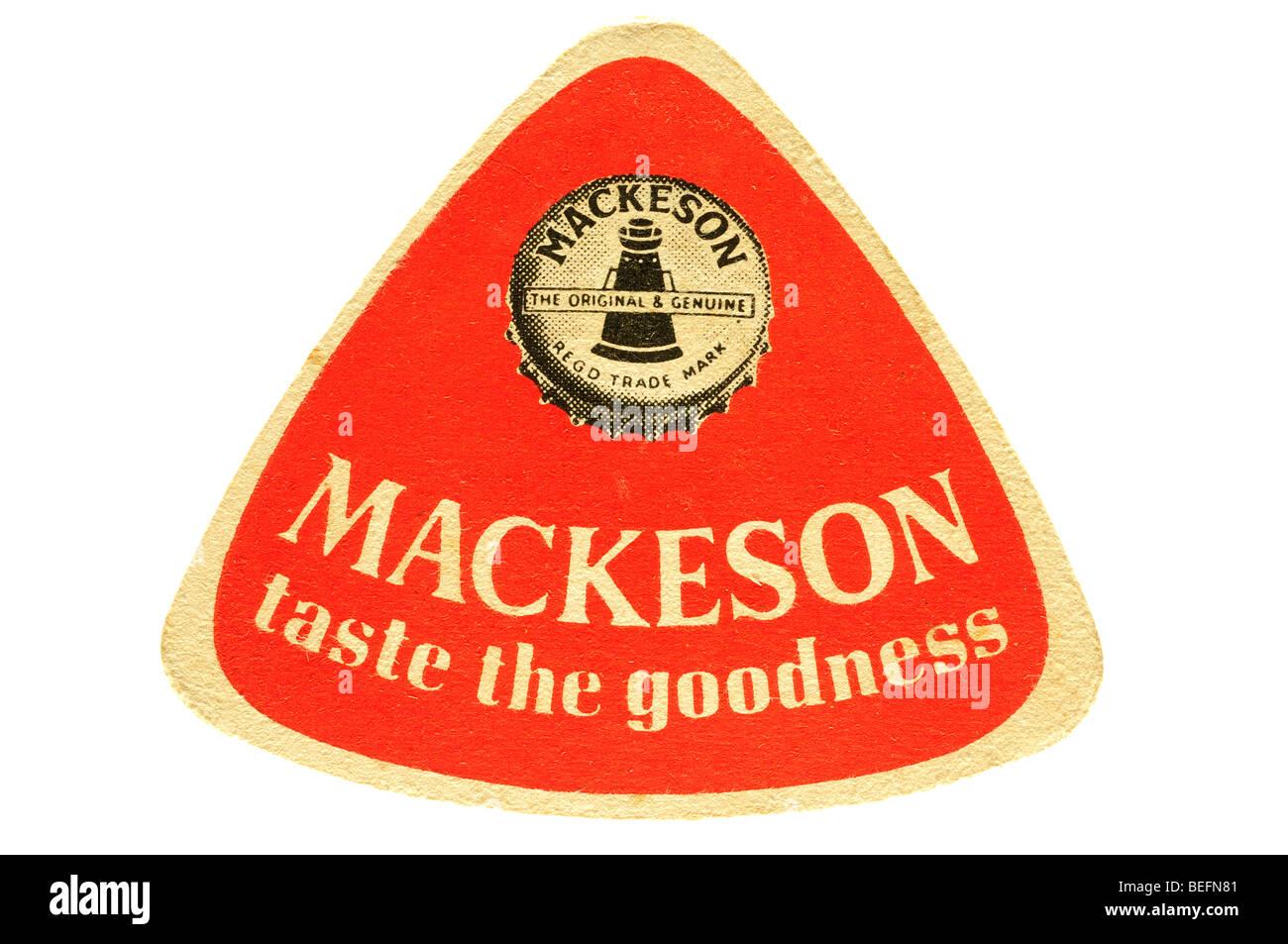 mackeson taste the goodness beer mat - Stock Image